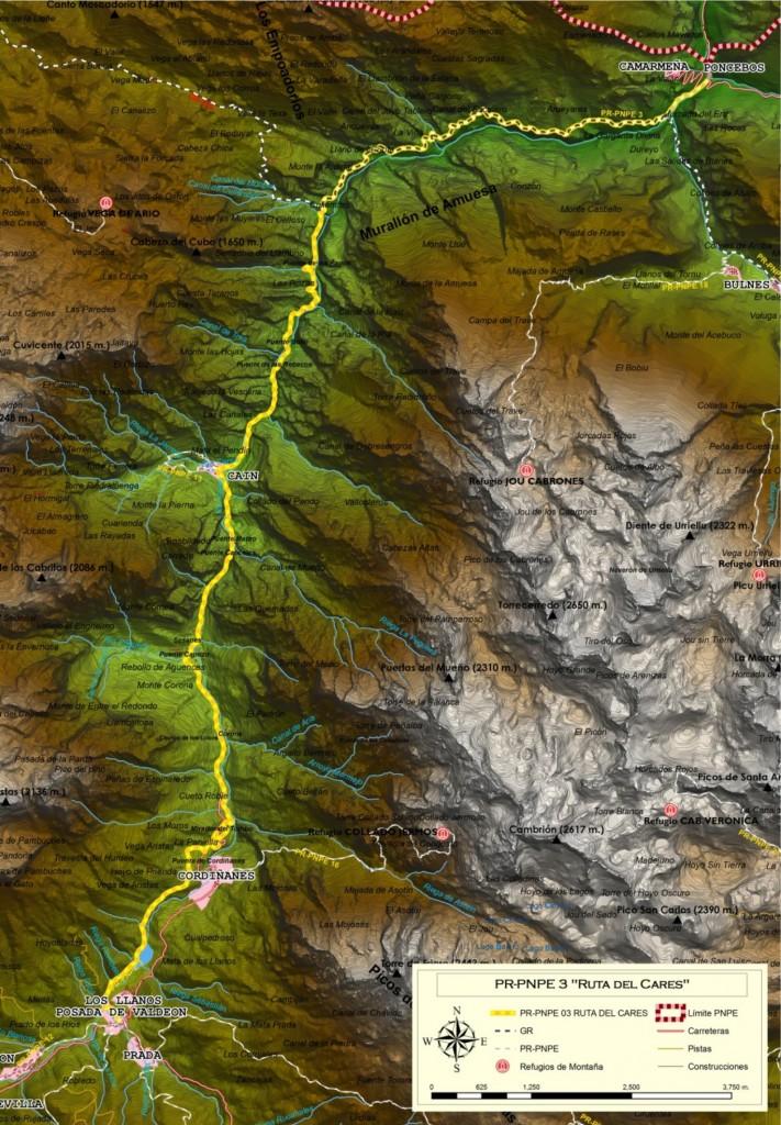 Mapa de la Ruta del Cares